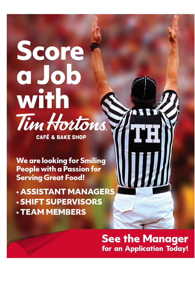 Tim Horton's Now Hiring Counter Card