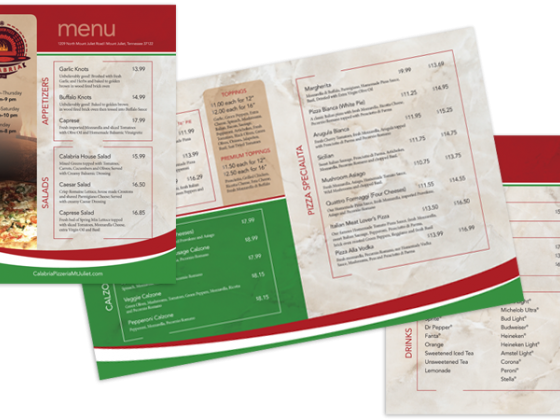 Calabria Brickoven Pizzeria Dine In Menu