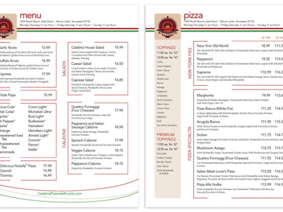 Calabria Brickoven Pizzeria Take Out Menu