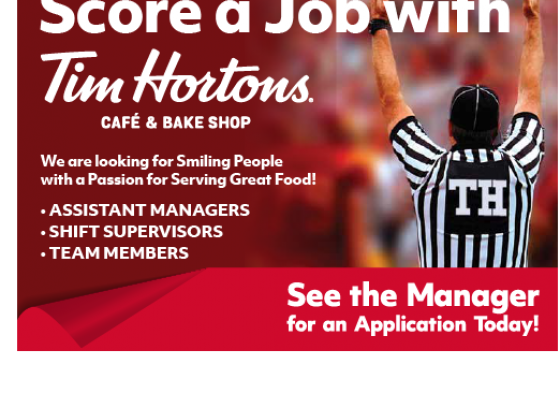Tim Horton's Now Hiring Decal