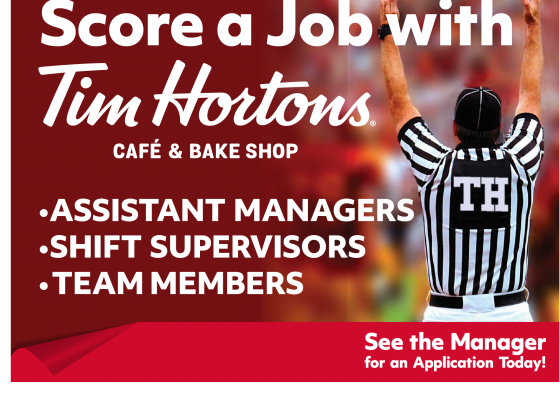 Tim Horton's Now Hiring Yard Sign